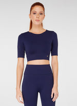 Jerf Naples Short -Sleeved Crop Top Econyl Navy Blue