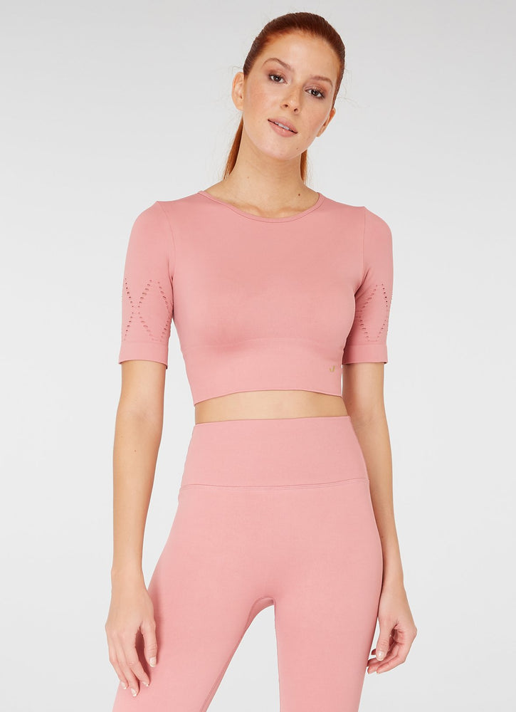 Jerf Naples Short -Sleeved Crop Top Econyl Pink