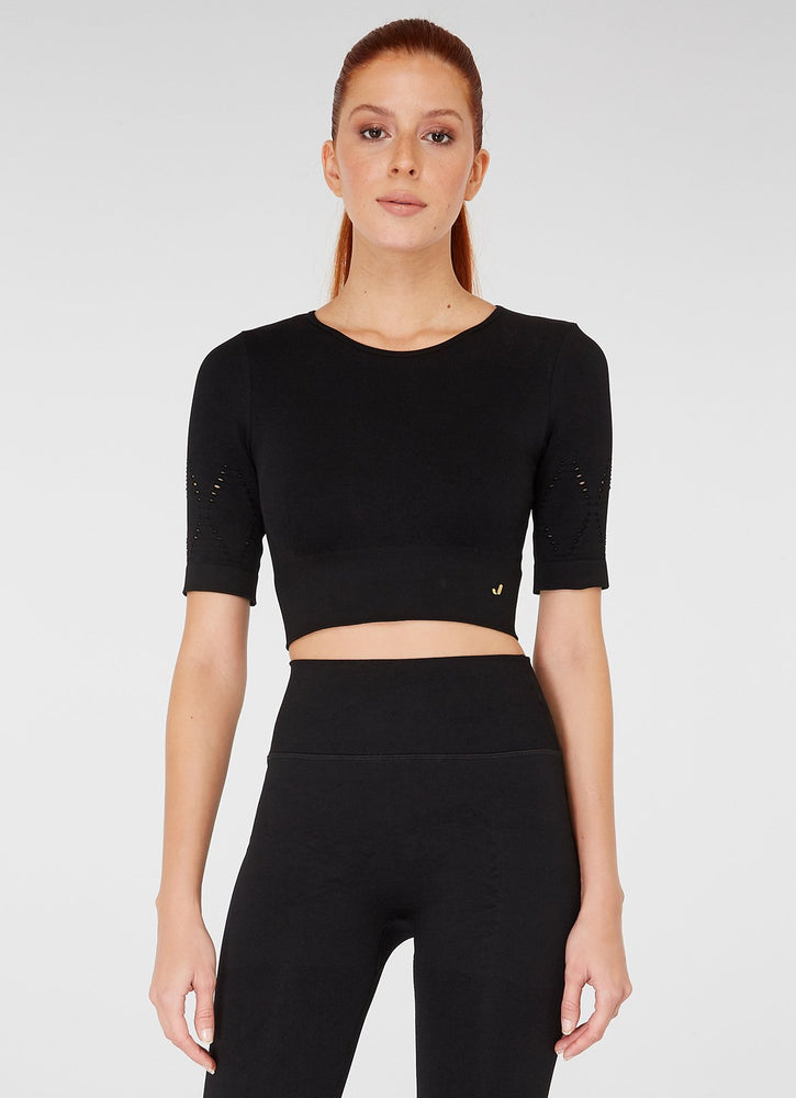Jerf Naples  Short -Sleeved Crop Top Econyl Black