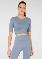Jerf Naples Short -Sleeved Crop Top Econyl Stone