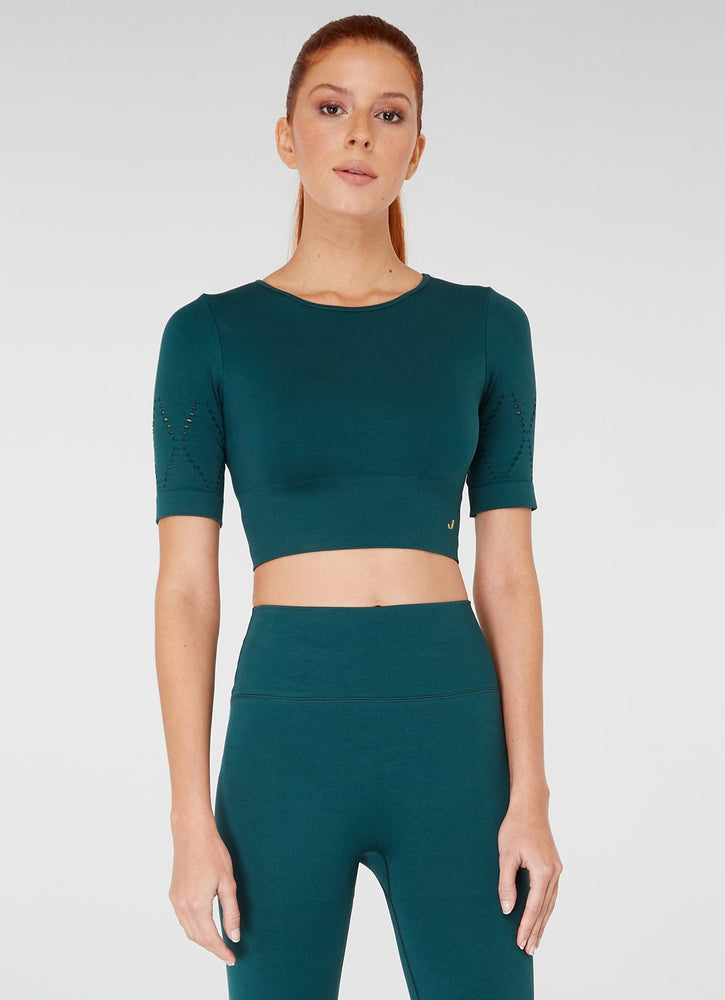 Jerf Naples Short -Sleeved Crop Top Econyl Green