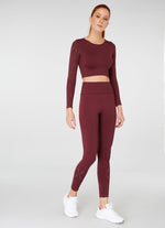 Jerf Naples  Long-Sleeved Crop Top Econyl Maroon
