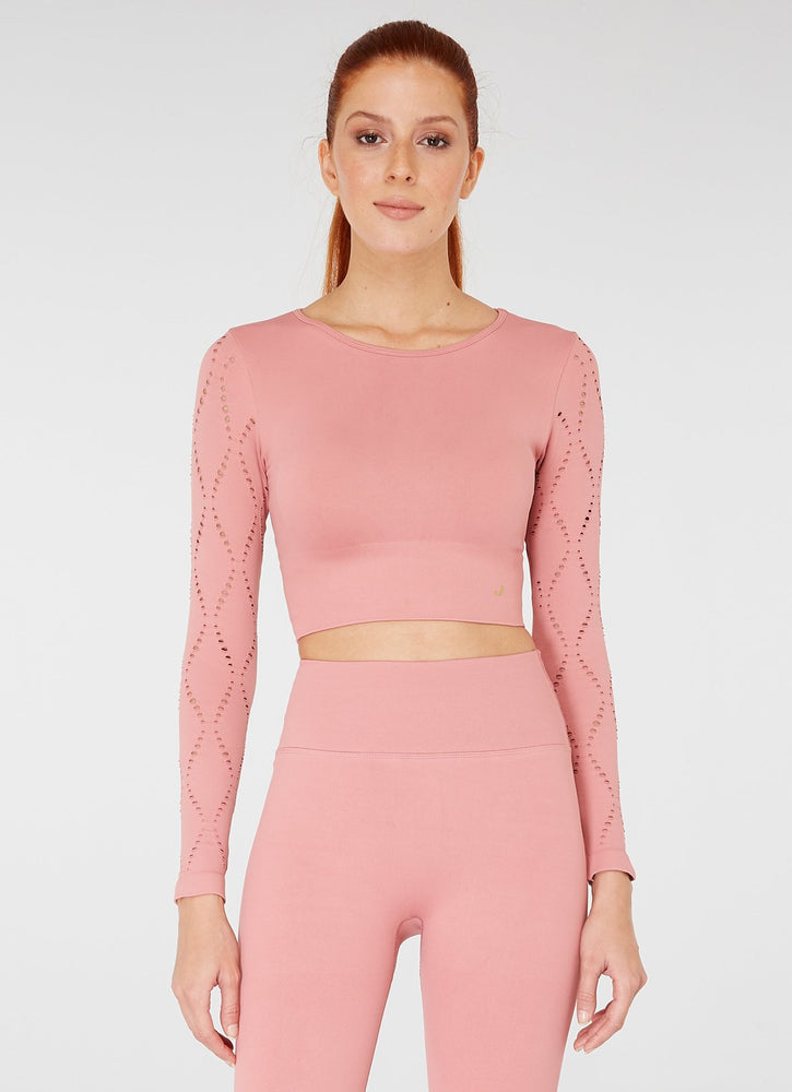 Jerf Naples Long -Sleeved Crop Top Econyl Pink
