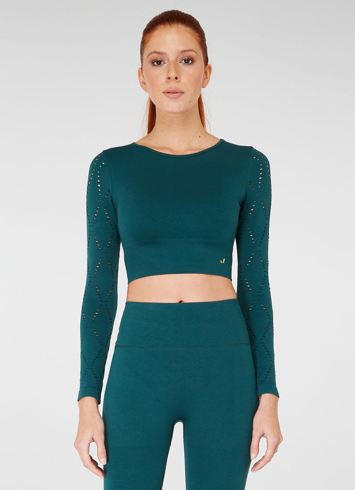 Jerf Naples  Long-Sleeved Crop Top Econyl Green