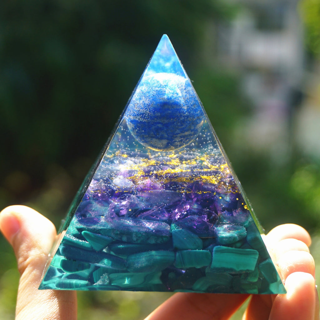 Orgonite Lapis Lazuli Amethyst and Malachite Pyramid