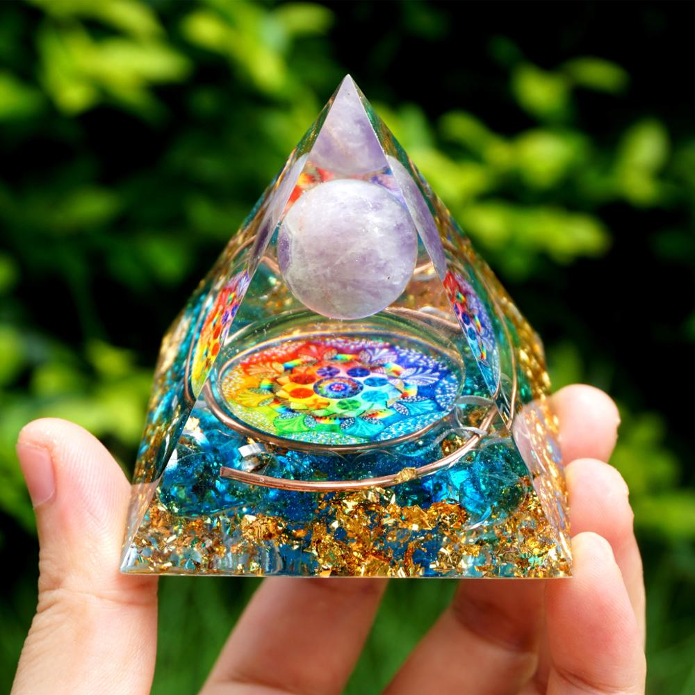 Orgonite Amethyst Sphere Blue Quartz Rainbow Pyramid