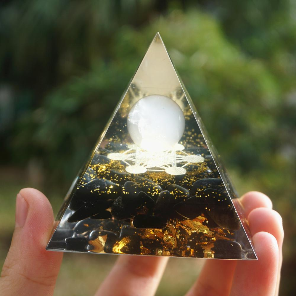 Orgonite Rose Quartz Obsidian Pyramid