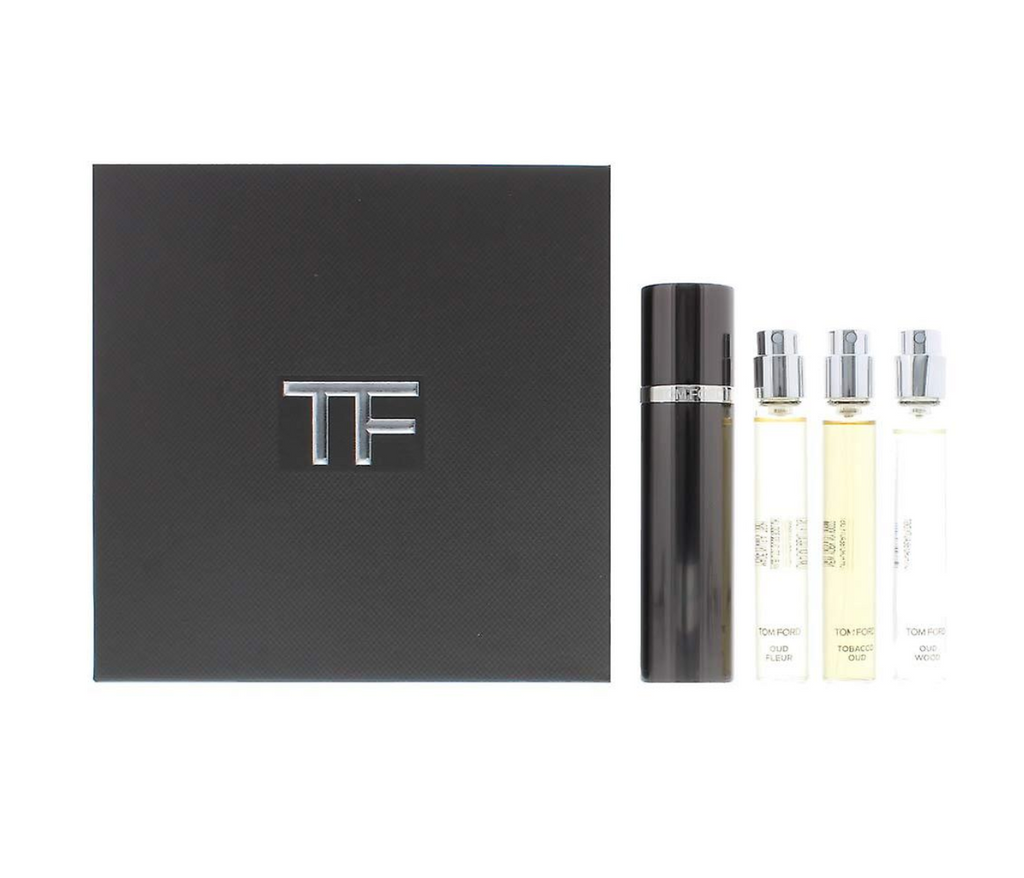Tom Ford Private Blend Oud Wood Collection Travel Gift Set 10ml Oud Wood EDP + 10ml Oud Fleur EDP + 10ml Tobacco Oud EDP + Refillable Atomizer
