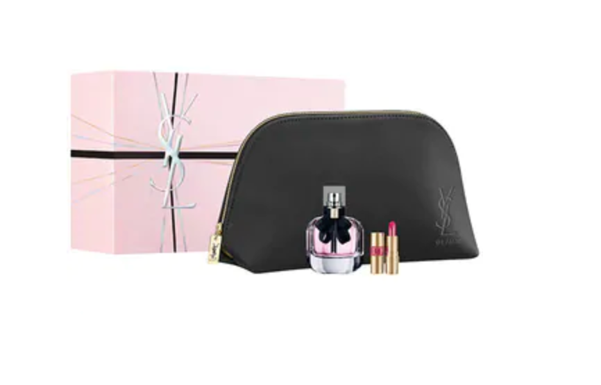 Yves Saint Laurent Mon Paris Gift Set 50ml EDP + 1.3ml Mini Rouge Volupte Shine Lipstick - No. 49 + Pouch