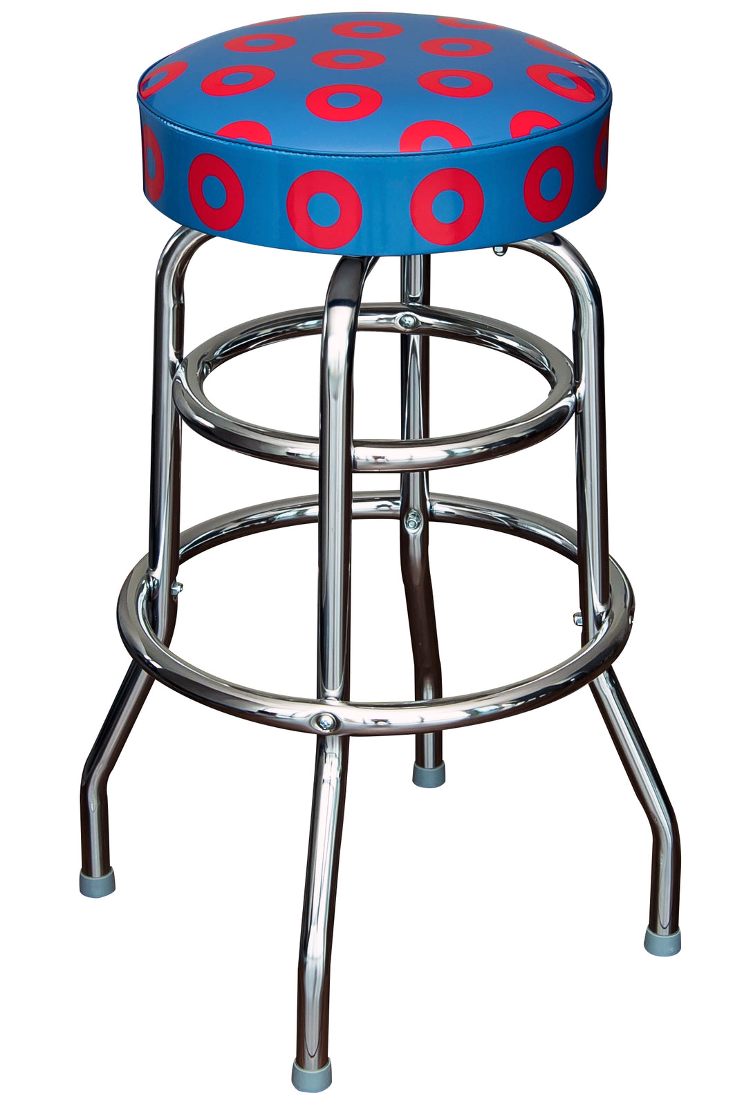 Donut Bar Stool - Blue with Red Donuts