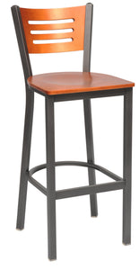 Slot Wood Back Metal Bar Stool-Richardson Seating