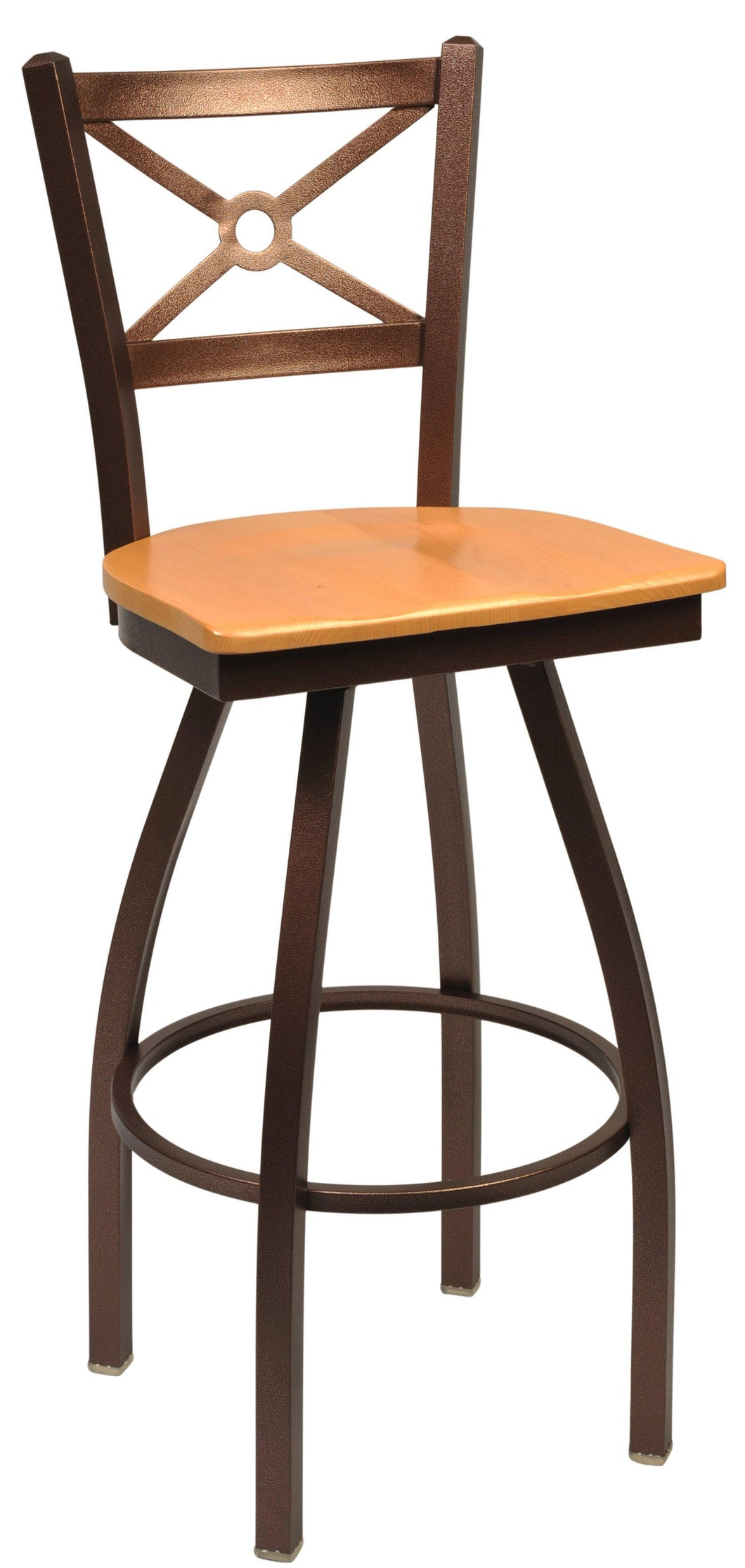Swivel Metal Bar Stool with Wood Back-Richardson Seating