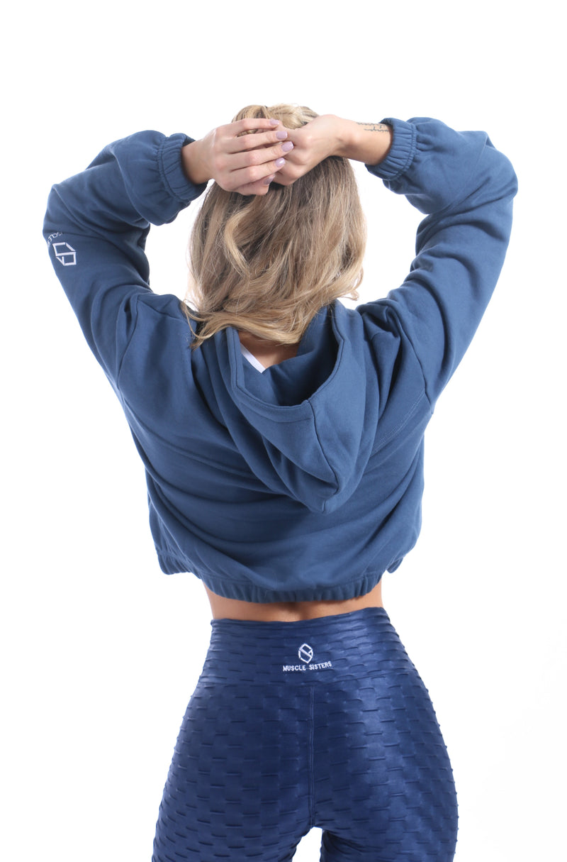 Blue Secret Cropped Hoodie - Muscle Sisters