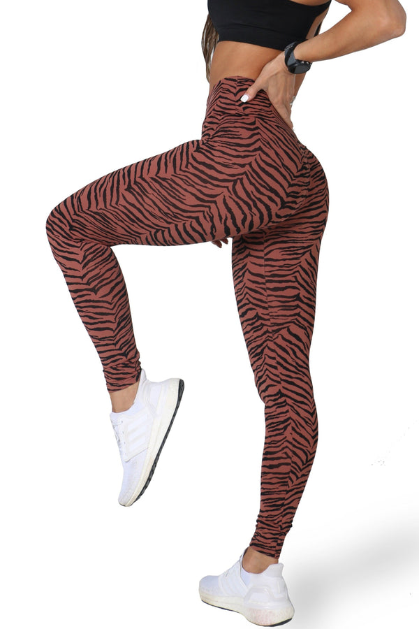 Tan Zebra Legging - Muscle Sisters