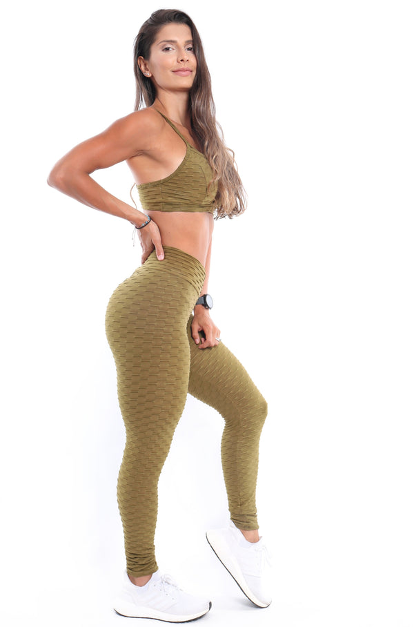 Olive Bubble Legging - Muscle Sisters