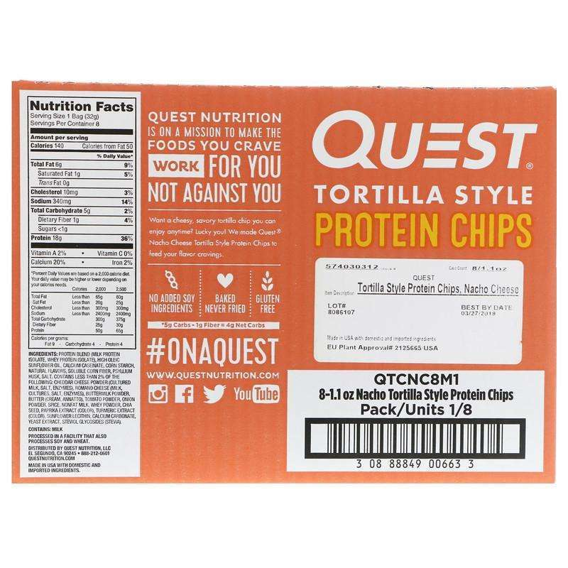 Quest Nutrition - Tortilla Style Protein Chips, Nacho Cheese - 8 Bags (32 g ) Each - AM VITAMINS