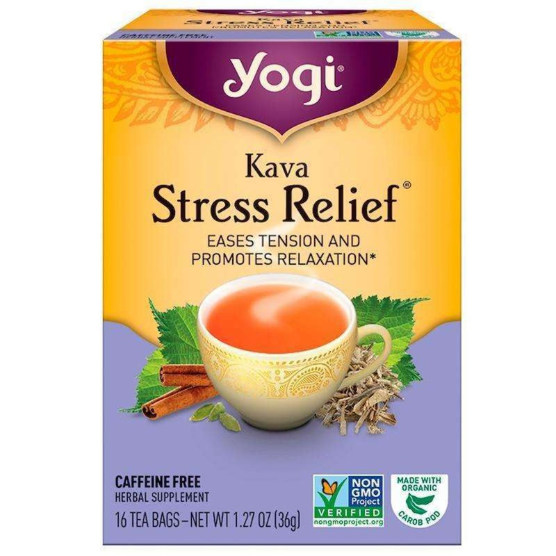 Yogi Tea - Kava Stress Relief, Caffeine Free - 16 Tea Bags, 1.27 oz (36 g) - AM VITAMINS