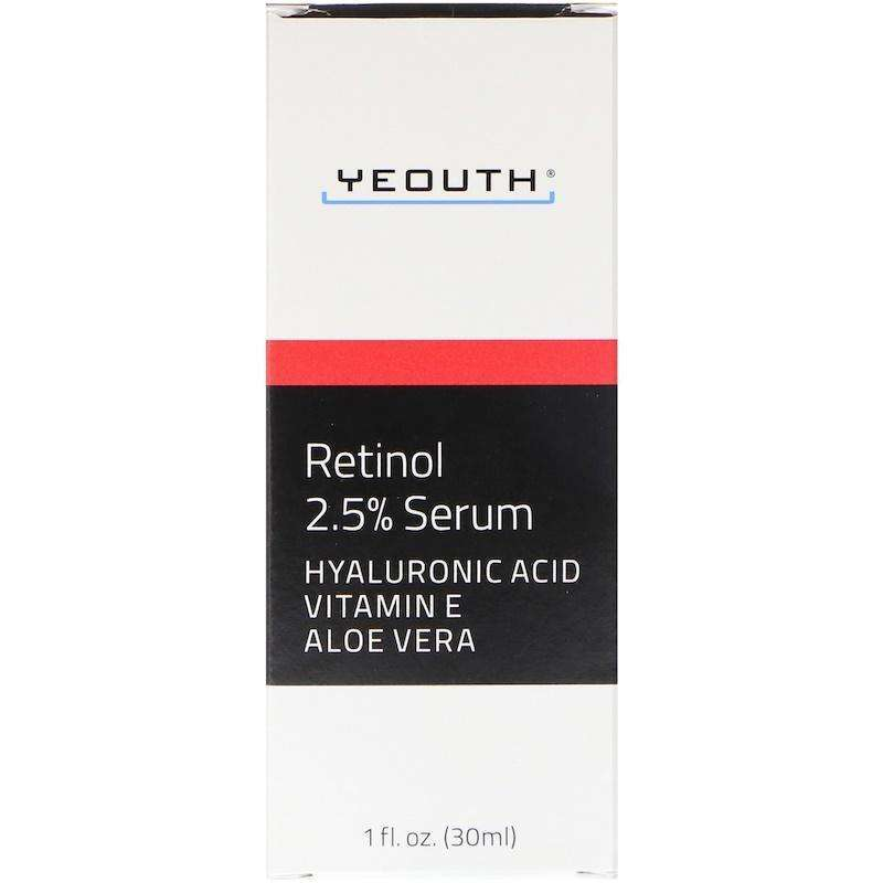 Yeouth - 2.5% Retinol Serum With Hyaluronic Acid, Vitamin E, Aloe Vera - 1oz - AM VITAMINS