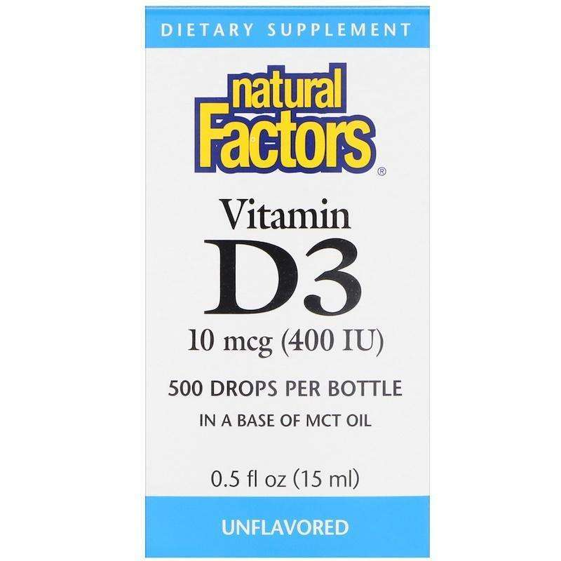 Natural Factors - Vitamin D3 Drops, Unflavored, 400 IU - 0.5 Fl Oz (15 Ml) - AM VITAMINS
