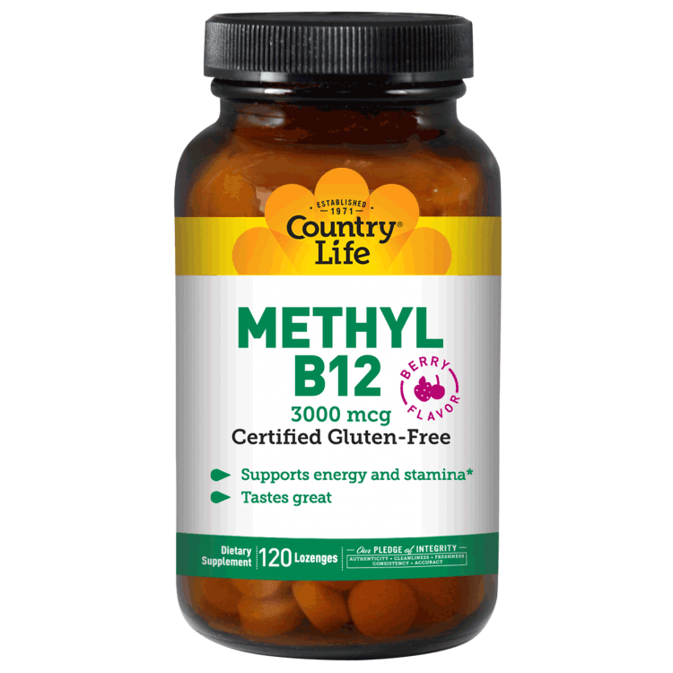 Country Life - Methyl B12, Berry Flavor, 3,000 mcg - 120 Lozenges - AM VITAMINS