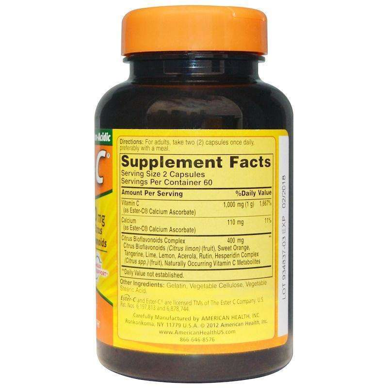 Ester-C®  500 Mg With Citrus Bioflavonoids Capsules - 120 Capsules - AM VITAMINS