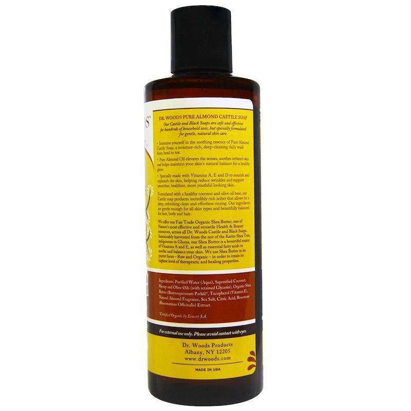 Dr Woods - Castile Soap Liquid Almond With Shea Butter - 8 Ounce - AM VITAMINS