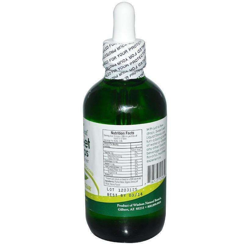 Wisdom Natural Sweetleaf - Liquid Stevia, Sweet Drops Sweetener - 4 fl oz (120 ml) - AM VITAMINS