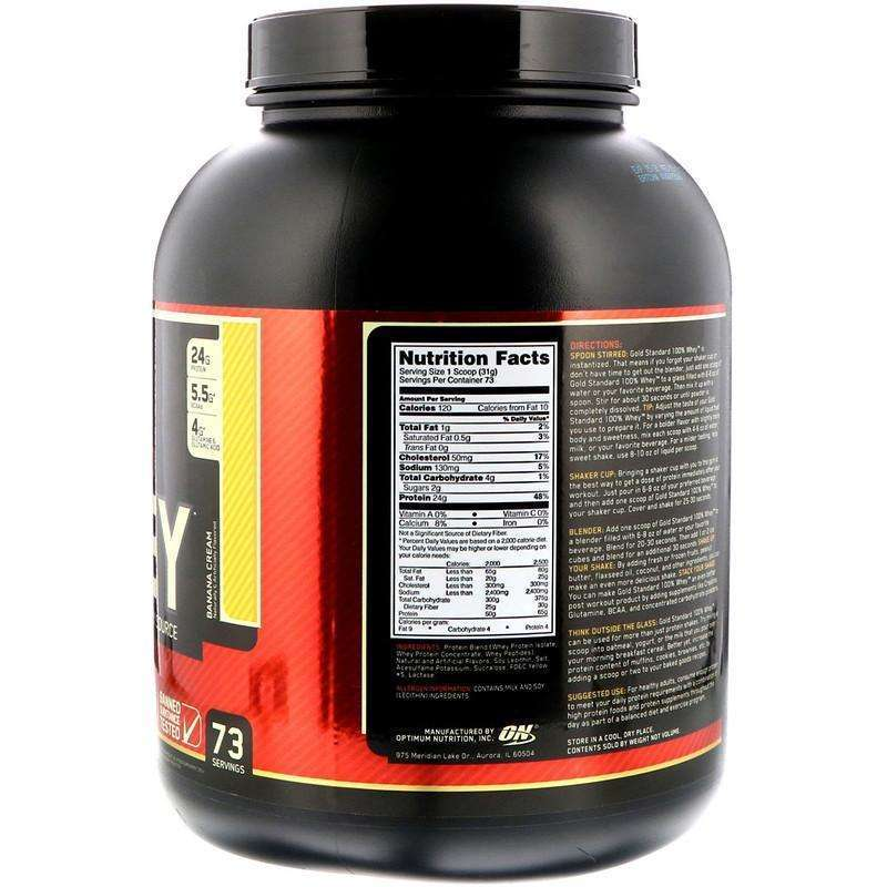 Optimum Nutrition - Gold Standard 100% Whey Cookies & Cream - 5 lbs - AM VITAMINS