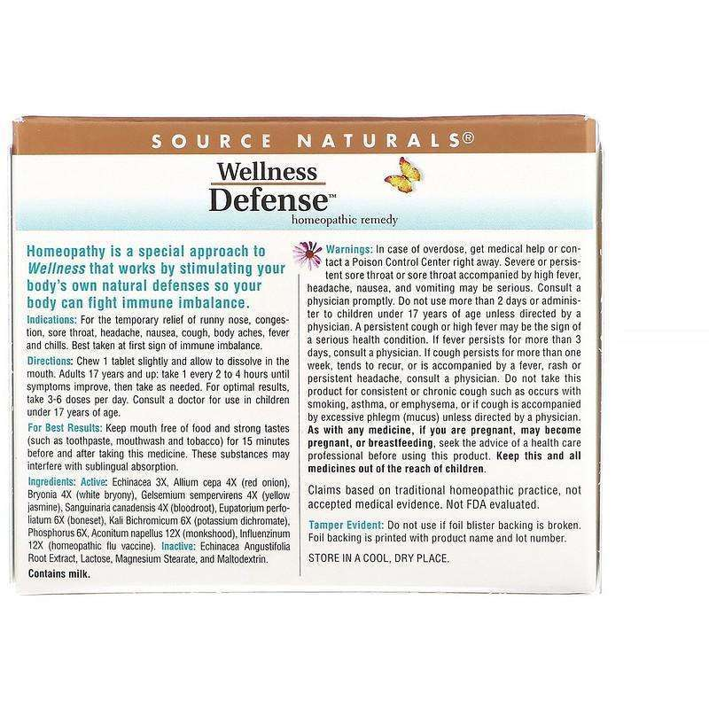 Source Naturals - Wellness Defense™ - 48 Homeopathic Tablets - AM VITAMINS