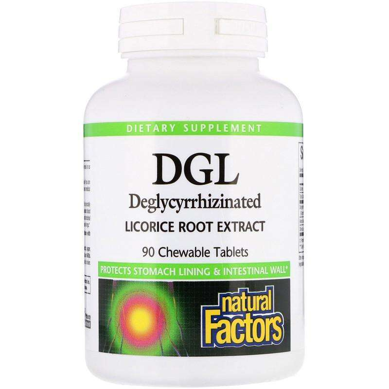 Natural Factors - DGL, Deglycyrrhizinated Licorice Root Extract - 180 Chewable Tablets - AM VITAMINS