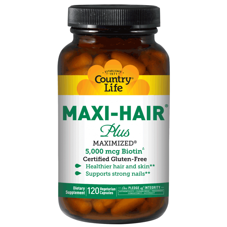Country Life - Maxi Hair Plus, 5,000 mg - 120 Vegetarian Capsules - AM VITAMINS