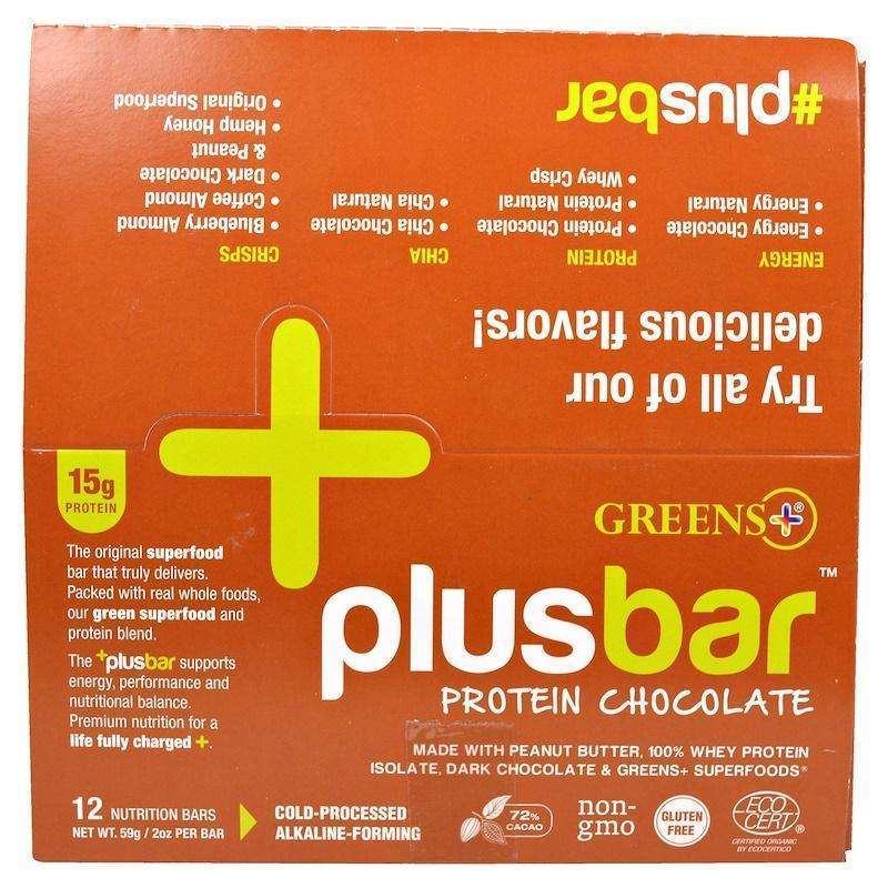 Green Plus - PLUSBAR Chocolate Protein Bar 59g Box - 12 Bars - AM VITAMINS