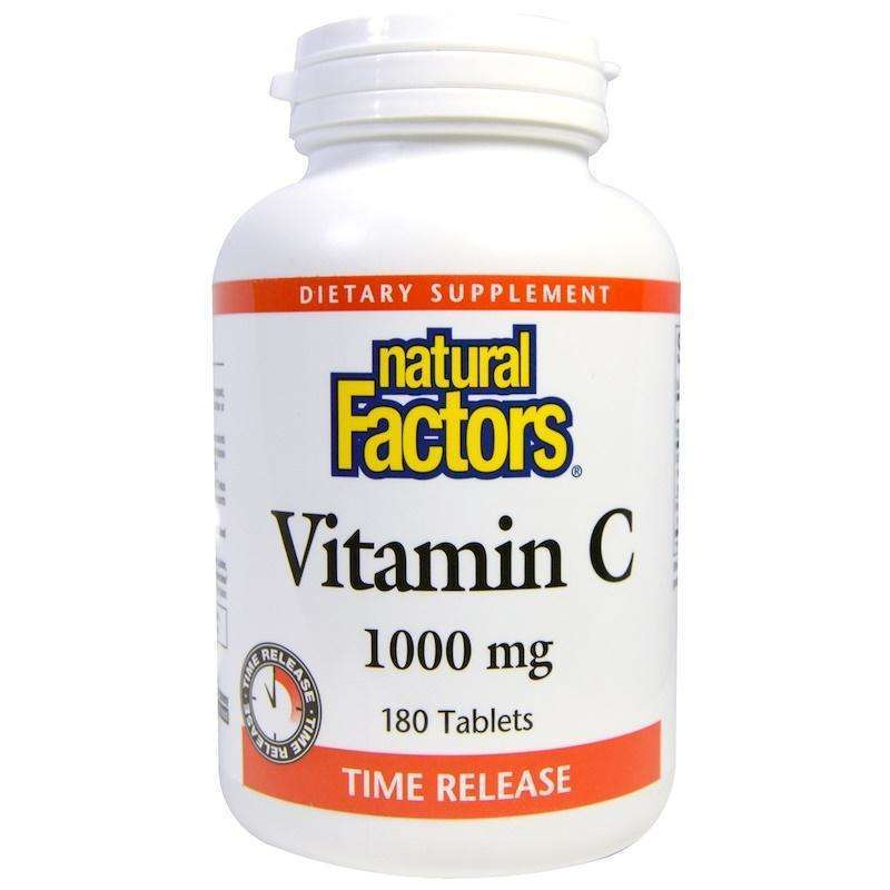Natural Factors - Vitamin C, Time Release, 1000 Mg - 180 Tablets - AM VITAMINS
