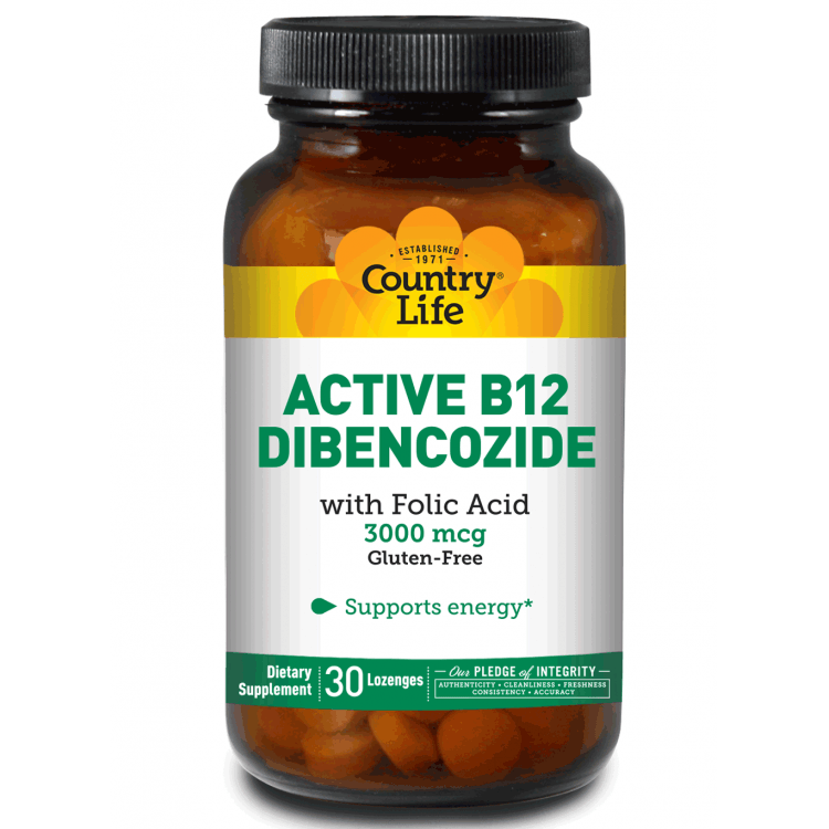 Country Life - Active B12 Dibencozide, 3000 mcg - 60 Lozenges - AM VITAMINS