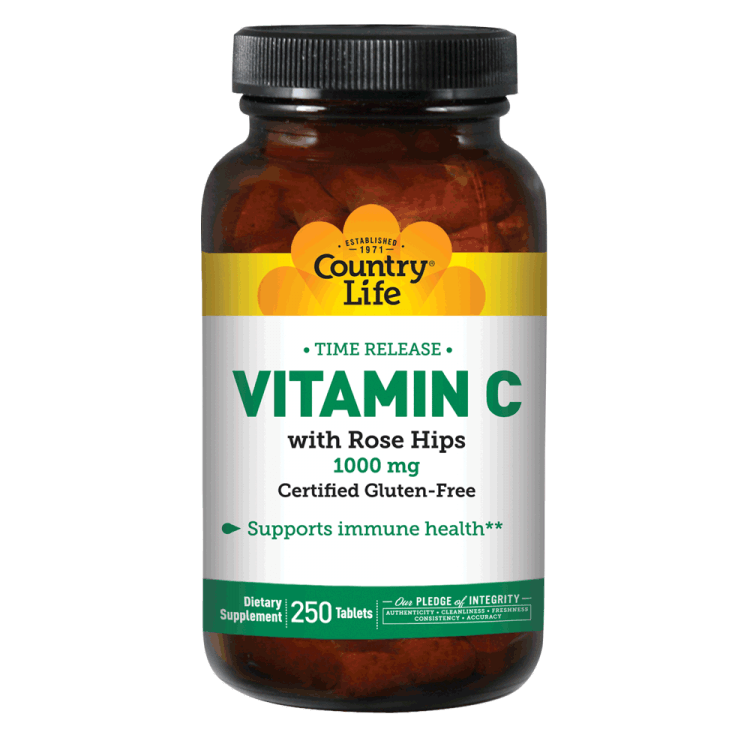 Country Life - Vitamin C, with Rose Hips, 1000 mg - 250 Tablets - AM VITAMINS
