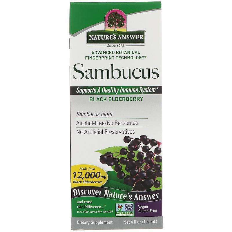 Nature's  Answers - Sambucus (Black Elder Berry) 12,000 mg, 4 fl oz (120 ml) - AM VITAMINS
