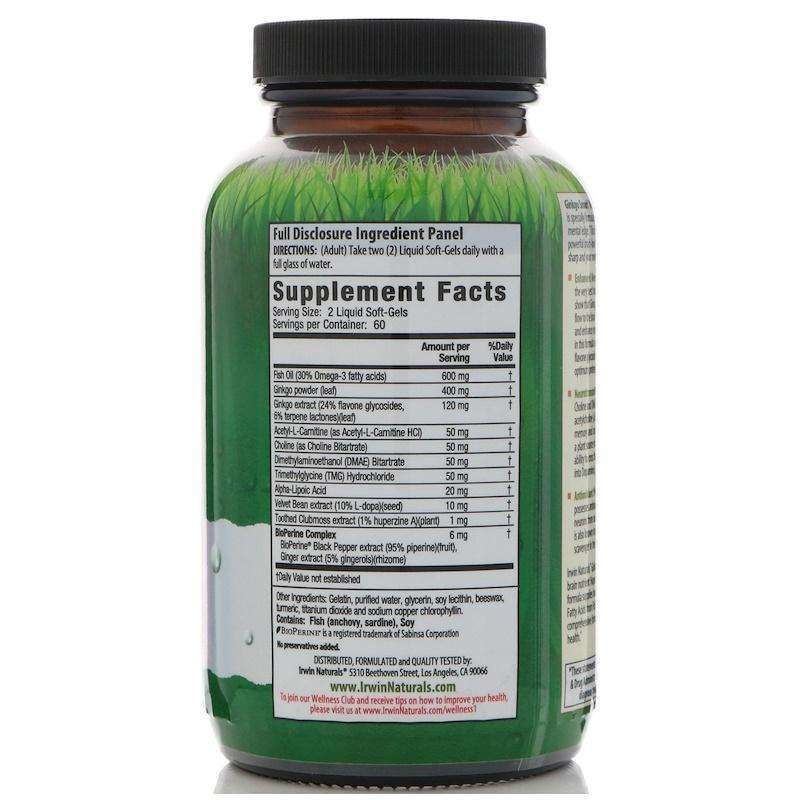 Irwin Naturals - Ginkgo Smart Maximum Focus & Memory-VALUE SIZE - 120 softgels - AM VITAMINS