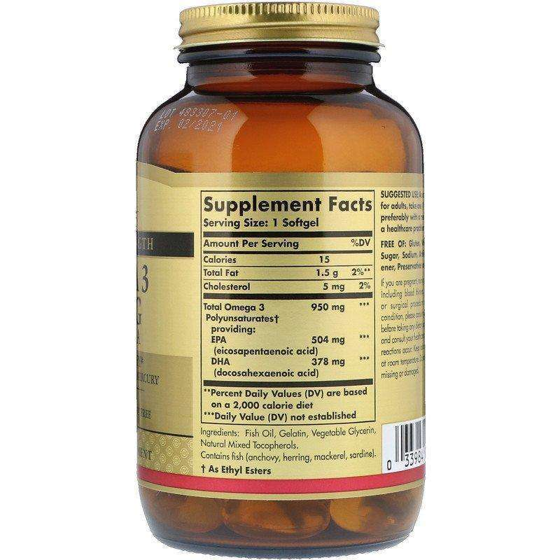 Solgar - Triple Strength Omega-3 950 mg - 100 Softgels - AM VITAMINS