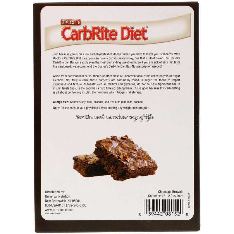 Doctor's CarbRite Diet Bars, Chocolate Brownie, 12 Bars - 2oz Each - Universal Nutrition - AM VITAMINS