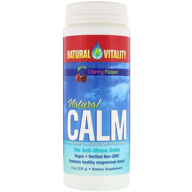 Natural Vitality - Natural Calm, The Anti-Stress Drink, Cherry Flavor - 8 oz (226 g) - AM VITAMINS