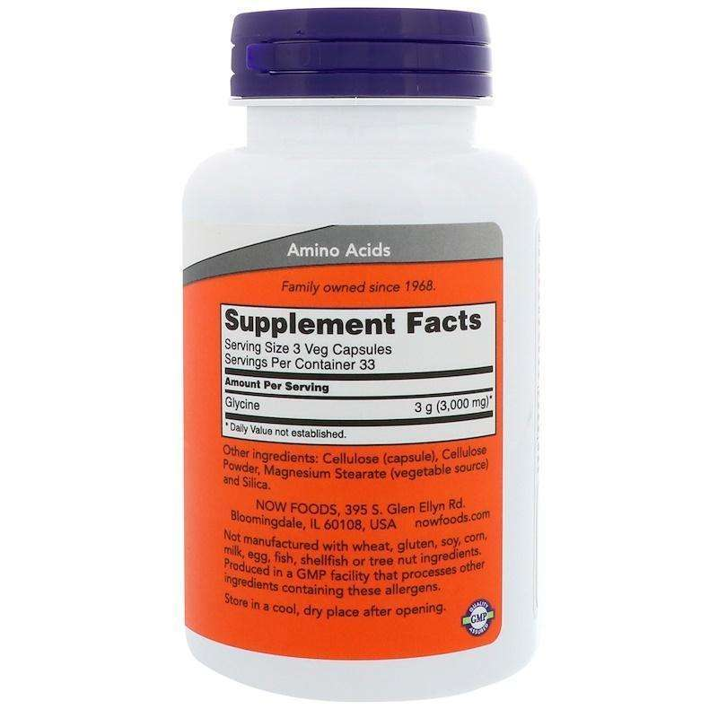 Now Foods - Glycine, 1,000 mg - 100 Veg Capsules - AM VITAMINS