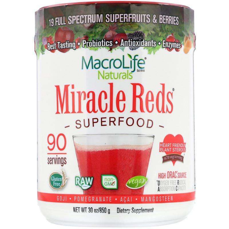 Macrolife Naturals - Miracle Reds, Superfood, Goji- Pomegranate- Acai- Mangosteen, 90 servings 1.9 lbs (850 g) - AM VITAMINS