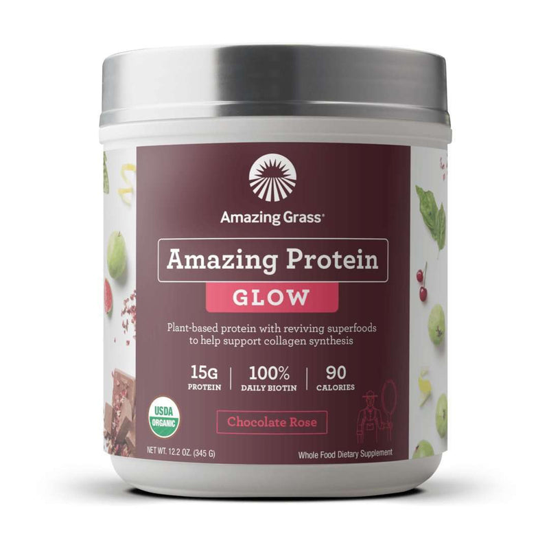 Amazing Grass - Amazing Protein Glow Chocolate Rose - 15 Servings - 12.2 oz (345 g) - AM VITAMINS