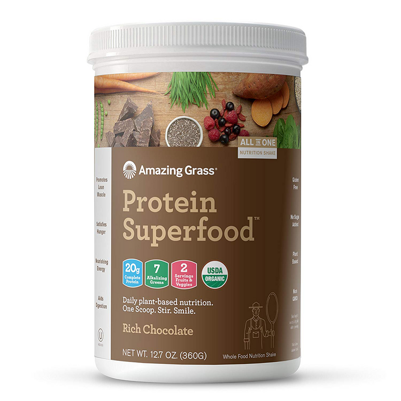Amazing Grass - Protein Superfood Rich Chocolate - 10 Servings - 12.7 oz (360 g) - AM VITAMINS