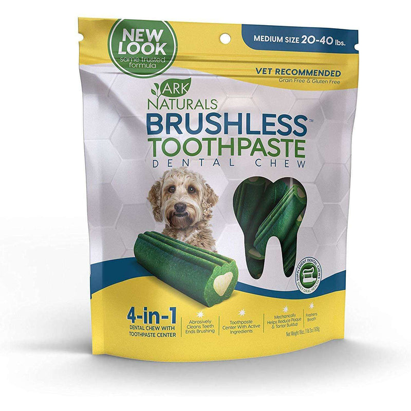 Ark Naturals - Brushless Toothpaste Dental Chews - Medium Dogs - 18oz bag (508g) - AM VITAMINS
