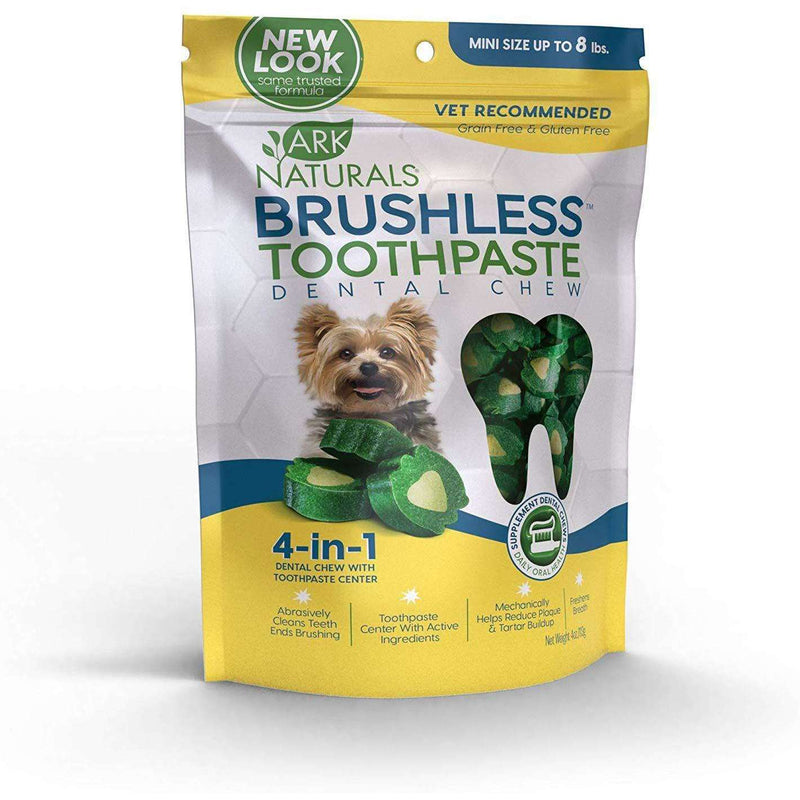 Ark Naturals - Brushless Toothpaste Dental Chews - Mini Dogs - 4oz bag (113g) - AM VITAMINS