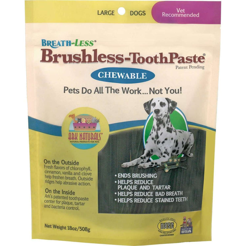 Ark Naturals - Brushless Toothpaste Dental Chews - Large Dogs - 18 oz bag (508g) - AM VITAMINS
