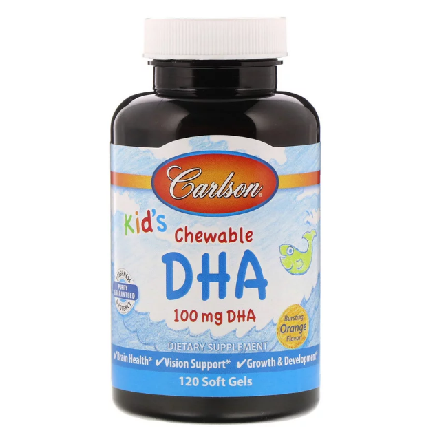 Carlson Labs - Kids Chewable DHA Bursting Orange Flavor - 120 Soft Gels - AM VITAMINS