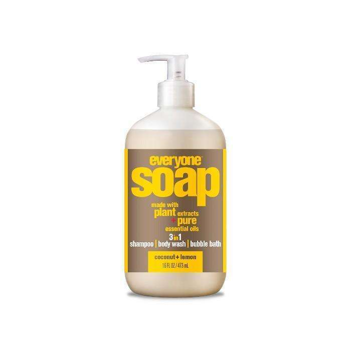 EO Products - Everyone Soap, 3 in 1, Coconut + Lemon - 16 fl oz (473 ml) - AM VITAMINS