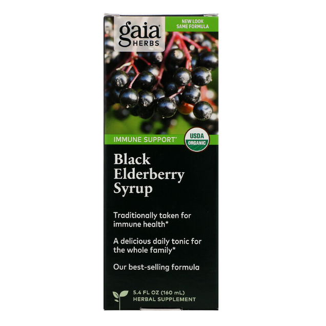 Gaia Herbs - Black Elderberry Syrup - 5.4 fl oz (160 ml) - AM VITAMINS